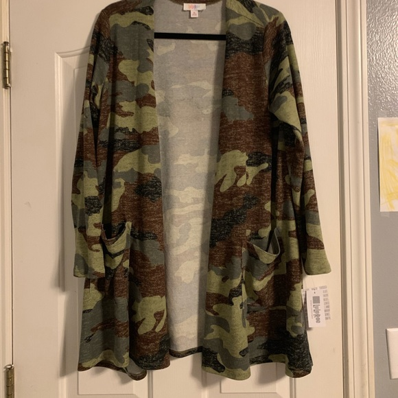 Lularoe Caroline Cardigan M Medium Black Gray Camo Camouflage Nwt 2019 Sweaters Women's Clothing